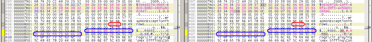 Difference between two different machines - timestamp in red, PDB-GUID in blue